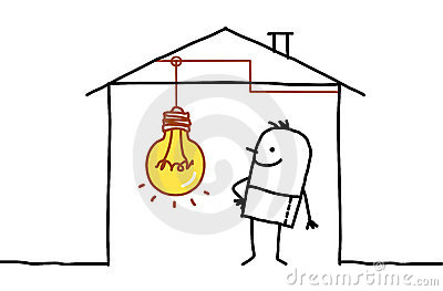 Man in house & light bulb