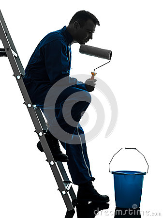 Man house painter worker silhouette