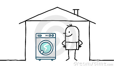 Man in house & washing machine