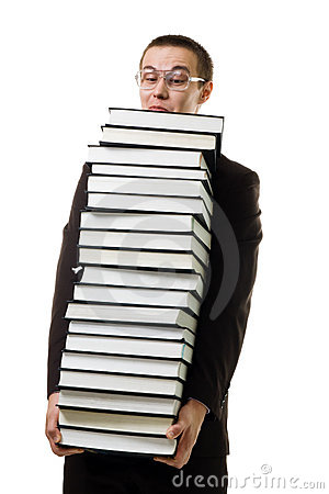 Man with a huge pile of books