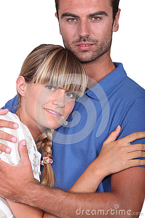 Man hugging his wife