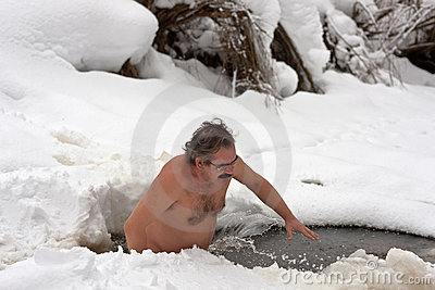 Man in an ice hole