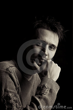 Free Man In A Pensive Pose Stock Images - 19416294