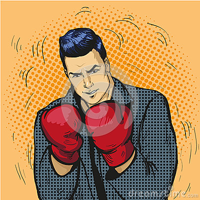 Free Man In Boxing Gloves Vector Illustration In Comic Pop Art Style. Businessman Ready To Fight And Protect His Business Stock Photo - 75492330