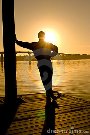 Free Man In Contemplation, Sunset Stock Images - 4151304