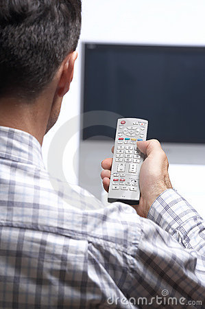 Free Man In Front Of Tv Switching Channel Royalty Free Stock Photo - 3719485