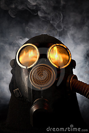 Free Man In Gas Mask Over Smoky Background Stock Photo - 7733110
