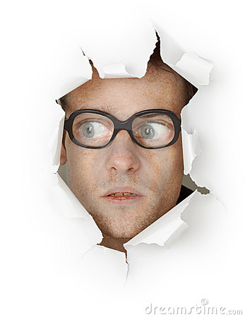Free Man In Glasses Looking Out Of Hole Stock Photos - 17114523