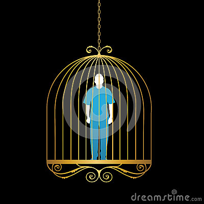 Free Man In Gold Bird Cage Royalty Free Stock Photo - 32911255
