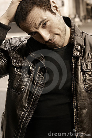 Free Man In Leather Jacket Stock Images - 7735604
