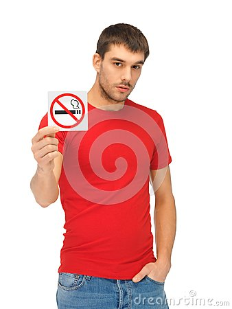 Free Man In Red Shirt With No Smoking Sign Stock Photography - 39399652