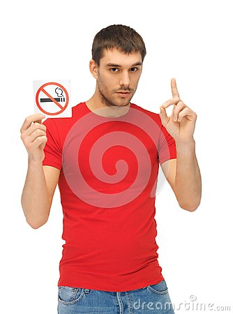 Free Man In Red Shirt With No Smoking Sign Royalty Free Stock Photo - 39428755