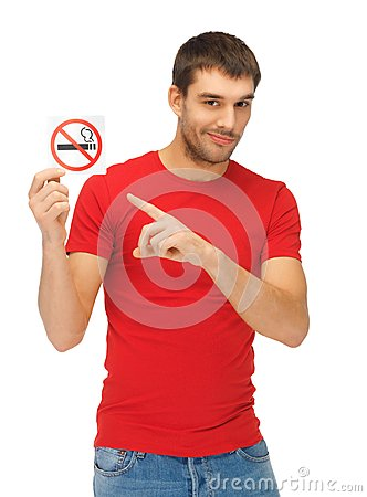 Free Man In Red Shirt With No Smoking Sign Stock Photos - 39429443