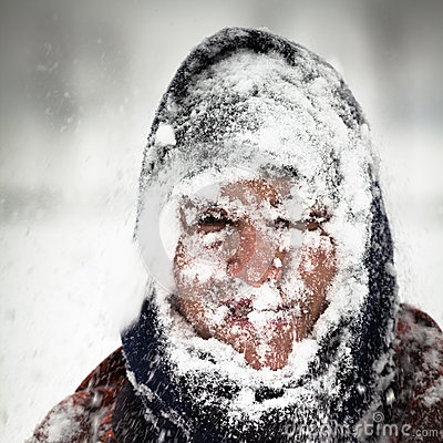 Free Man In Snow Storm Royalty Free Stock Image - 29109596