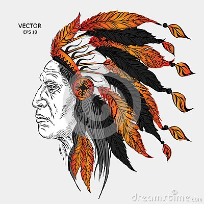 Free Man In The Native American Indian Chief. Black Roach. Indian Feather Headdress Of Eagle.  Hand Draw Vector Illustration Royalty Free Stock Photos - 101548838