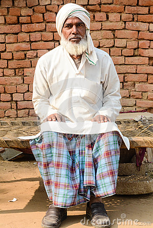 Free Man In Traditional Attire In Indian Village Stock Photography - 79835022
