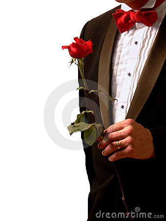 Free Man In Tuxedo With Rose Royalty Free Stock Images - 864969