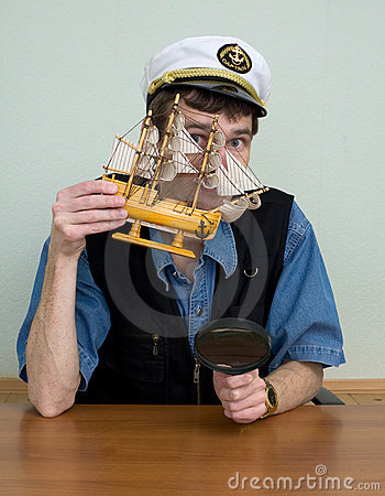 Free Man In Uniform Cap With Sailer Stock Photography - 8907862