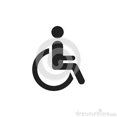 Free Man In Wheelchair Vector Icon. Handicapped Invalid People Sign I Stock Photo - 95984810