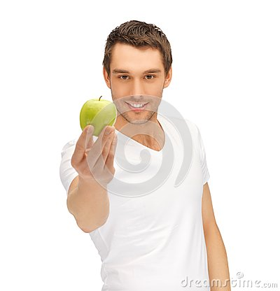 Free Man In White Shirt With Green Apple Royalty Free Stock Photos - 39715218