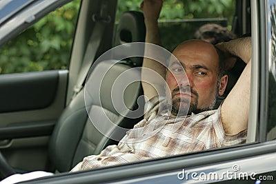 Man inside in his car
