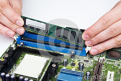 Man installing computer memory