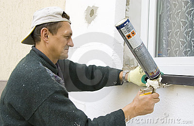 Man installing windowsill #2