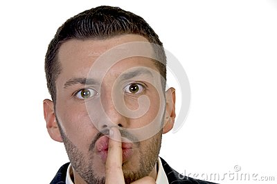 Man instructing to be silent