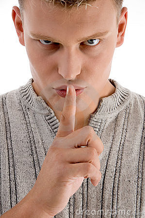 Man instructing you to be silent