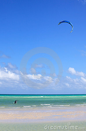 Man involved in kiteboarding