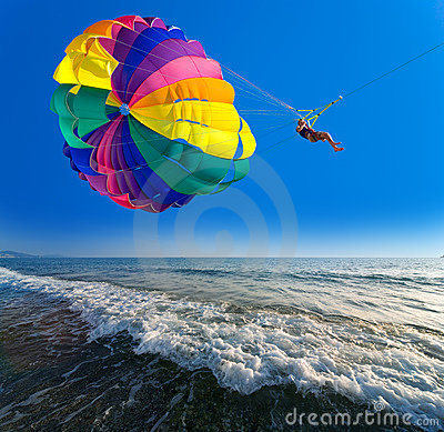 Free Man Is Parasailing Stock Photo - 7476590