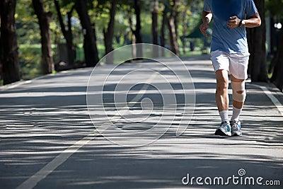 Man jogging in the public park