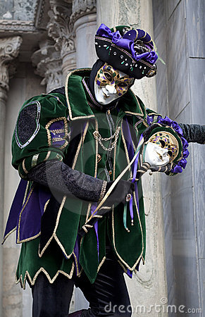 Man in joker costume at Venice Carnival 2011 Editorial Photography