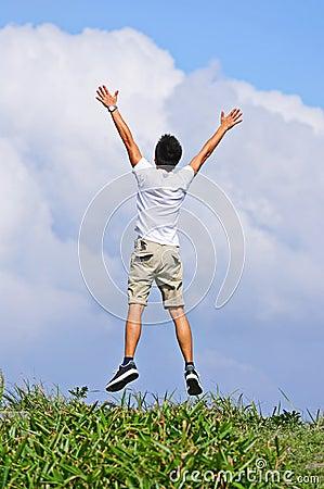 Man jump freely
