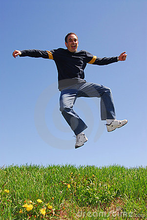 Man jump happy