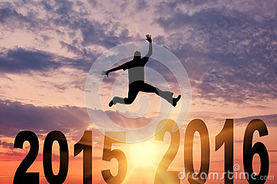 Man in a jump between 2015 and 2016 years Stock Photo