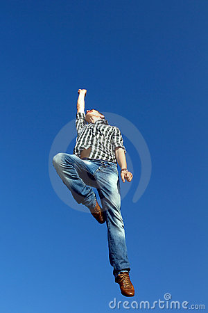 Man jumping in air