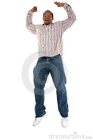 Man jumping with delight