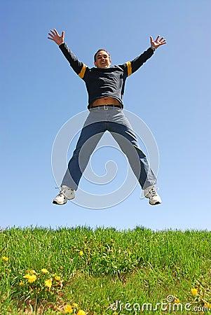 Man jumping happy