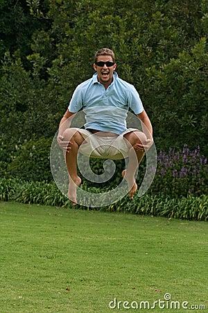 Man jumping with joy