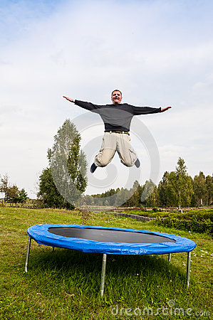 Man jumping on the trampoline