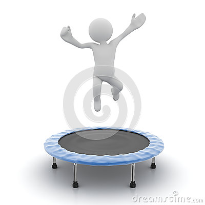 Man jumping on trampoline