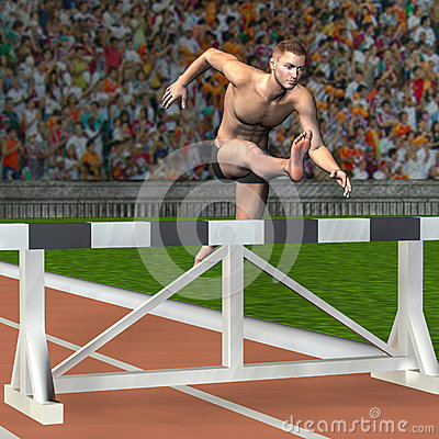 Man jumps over a hurdle