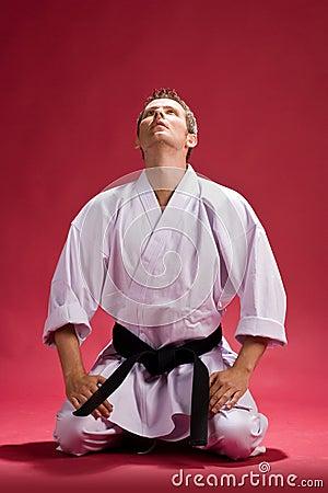Man in karate kimono