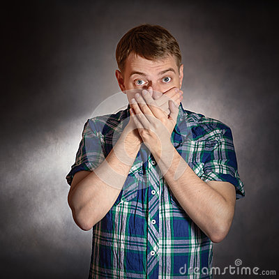Free Man Keep His Mouth Closed. Stock Photos - 54426163
