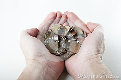 Man keeping coins in hands