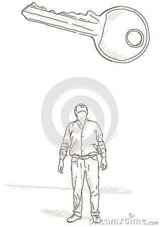 Man and key