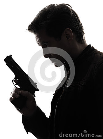 Free Man Killer Policeman Holding Gun Portrait Silhouette Royalty Free Stock Photography - 33501197