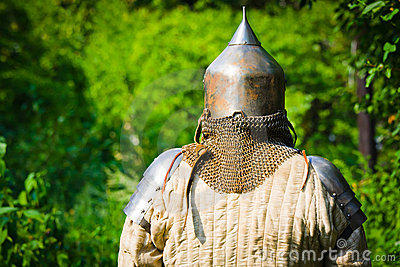 Man in knight s helmet