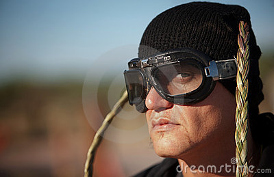 Man with knit cap and goggles